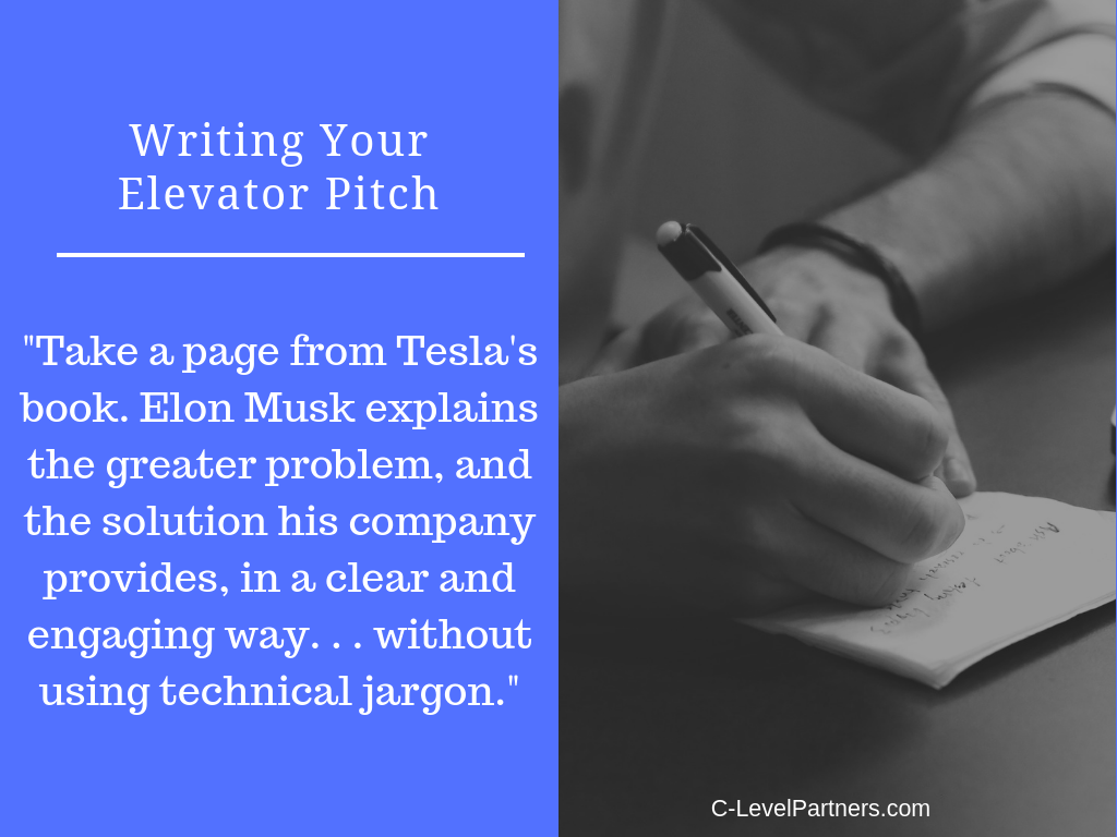 c-level partners elevator pitch Elon Musk and Tesla