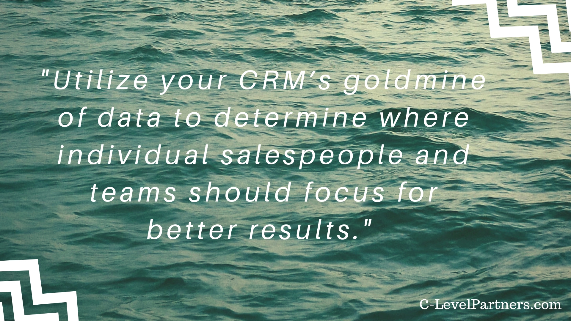 C-Level Partners recommends utilizing your CRM's goldmine of data to determine where individual salespeople and teams should focus for better results.