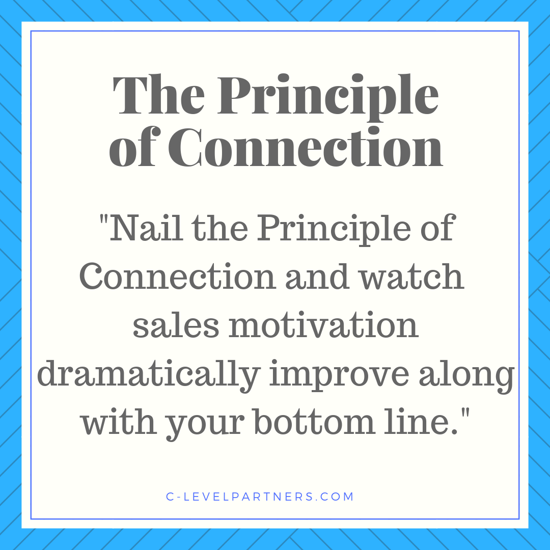 Nail the Principle of Connection and see how your ability to connect with the needs, wants, and motivations of your sales team makes a marked improvement on the bottom line.