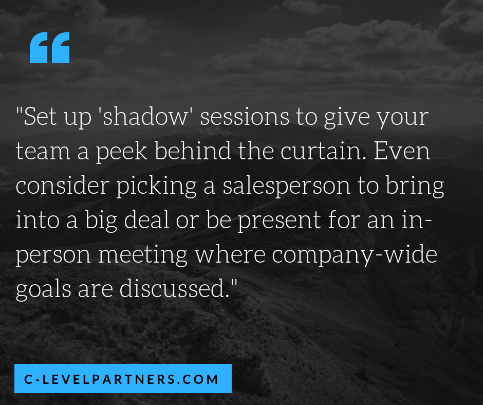 "C-Level Partners sets up ""shadow"" sessions where we give our team a peek behind the curtain – pick a salesperson to bring into a big deal or be present for an in-person meeting where company-wide goals are discussed"